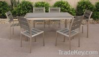 Long Dining Table Set-polywood and aluminum outdoor furniture