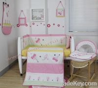girl crib bedding set with butterfly in color pink