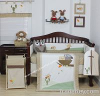unisex nursery bedding bedding set with owl embroidery in color beige