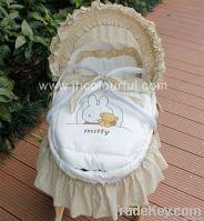 hand made infant basket in maize peel wicker cradle set