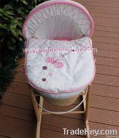 hand made infant basket set in maize peel wicker cradle set