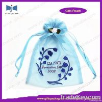 Embroidery drawstring organza bag