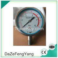 Back or bottom mount liquid oil filled pressure gauge