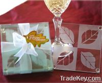 """Frosted """"Fall in Love"""" Leaf Glass wedding Coaster Set"""