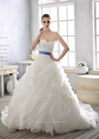 High Class Ruffle Royal Blue And White Tulle Wedding Dress