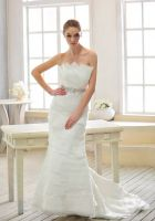 Ruffle Tulle Organza Mermaid Wedding Dress
