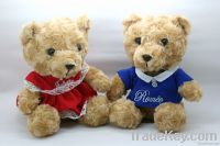 lovely teddy bear with rose plush, doll plush toy with customized logo,