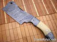 Custom made True Damascus Cleaver Knife With Camel Bone and Damascus