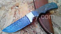 "CUSTOM MADE""TRUE DAMASCUS (13"") DAGGER KNIFE""W/CAMEL BONE, BUFFALO HORN"