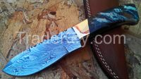 Damascus Hand made Carbon Steel skinny Folding knife with bone handle