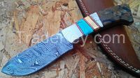 "CUSTOM MADE""TRUE DAMASCUS RAZOR FOLDING KNIFE""W/ WALNUT WOOD & MOSAIC"