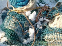 Waste fishing net scrap