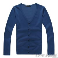 Solid color cotton mens cardigan sweater