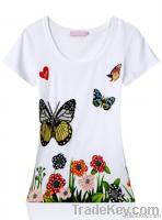 2014 fashion cotton women t shirt with wholesale