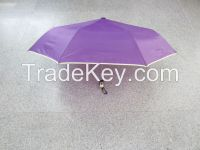 Three Folding Auto Open Umbrella with Piping