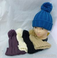 Fashion Acrylic knitted beanie hat with top ball