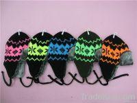 Fashion acrylic knit earflap winter fake fur hat