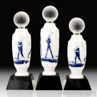 Delicate White Crystal golf trophy