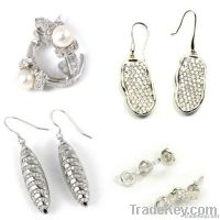 925 sterling silver pave earrings