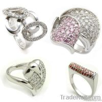 925 sterling silver pave rings