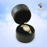 Cylindrical Black Leather Travelers Watch Case Jewelry Case