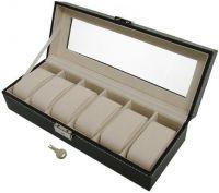 PU Leather 6 Grid Watch Display Case Box, Jewelry Storage Organizer Black (SW-6780)
