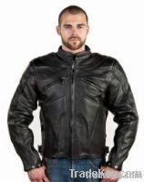 Mens Premium Naked Cowhide Leather Racer Jacket