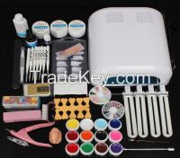 Wholesale Professional 36w White Gel Polish Curing UV Dryer Lamp 12 Colors Nail Art Manicure Tools Brush Kit For Beauty Nails