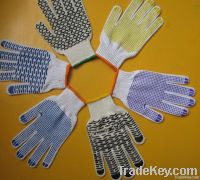 knitted cotton glove with pvc dot