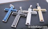 new Trendy cool titaniium steel sideway cross necklace Pendant