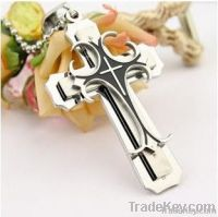 2013 trendy titanium steel vampire cross pendants necklace