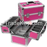 Rose Aluminium Makeup Travel Case with 4 Trays (HB-3210)