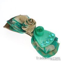 Green Korean Style Chiffon and Resin Barrette