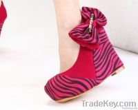 2013 women's spring summer shoes mei red velvet bow fashion zebra prin