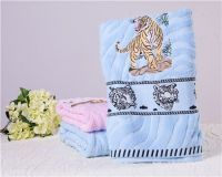 jacquard printed towel tiger satin-border blue pink towels