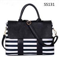 Lady's Black & White Stripe PU Handbag Shoulder Bag Messenger Bag
