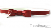 new style fashion woman belt PU imitation leather shinning bowknot