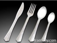 disposable plastic spoon, fork and knife