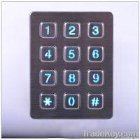 Vandalproof metal numeric keypad with 12 keys