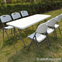 convenient furniture white plastic rectangle folding dinning table