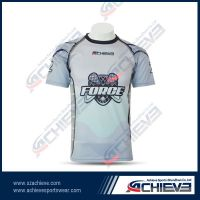 Customized cheap sporting V neck T shirt with sublimation printing
