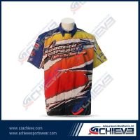 Sublimation 100%polyester button down racing shirt
