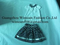 2014 new arrivel cotton girls two pieces clothing set puffy dresses for girls & white shirt