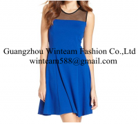 2014 China wholesale clothing sleeveless high-neck mesh a line dress on sales