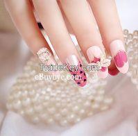 24PCS 3D Jewelry Nails Fashion Bridal Nail Art with 2g Nail Glue