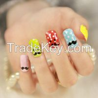 Stylish Mustache Design 3D Nail Wraps Decoration Rhinestones Nail Sticker Artificial Nail Art Products