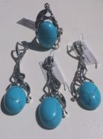 Sterling silver oxidized set with gemstone