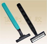 rubber handle three blade razor