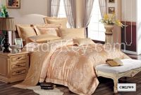 Luxury Tencel and polyester jacquard and embroider fabric customized size luxury bedding sets