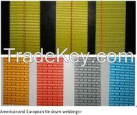 Tie Down Webbings, amarre correas, correas de amarre, carga de amarre correas, correas, cinta de poliéster, tejido de nylon